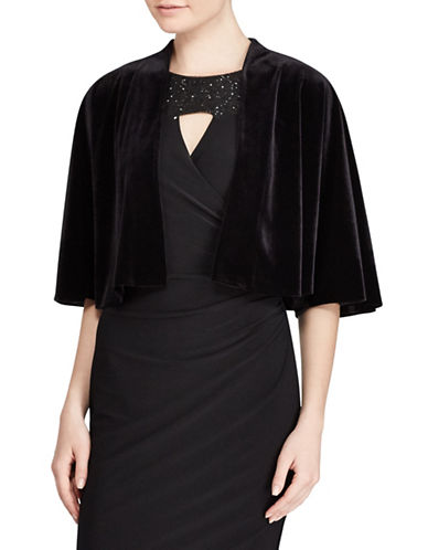 Lauren Ralph Lauren Draped Velvet Cape-BLACK-Large