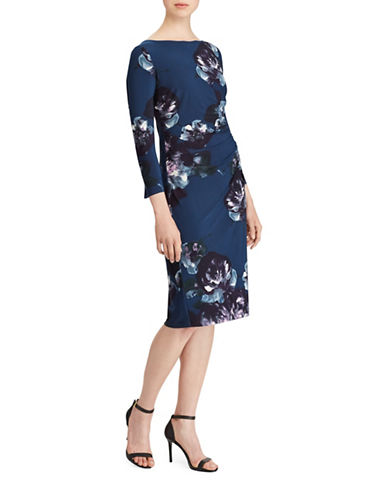 Lauren Ralph Lauren Floral Jersey Sheath Dress-BLUE-16