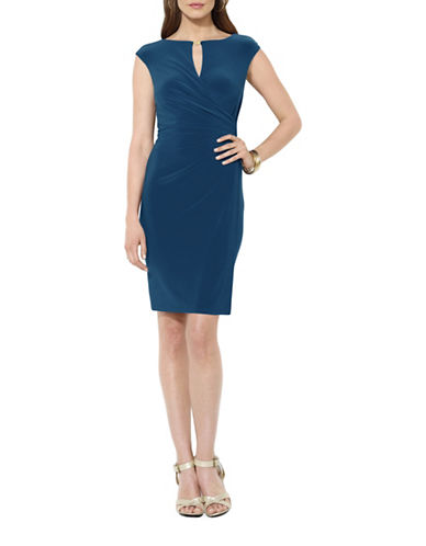 Lauren Ralph Lauren Keyhole Detail Sheath Dress-BLUE-2