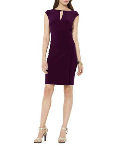 Lauren Ralph Lauren Elkana Keyhole Jersey Sheath Dress-RAISIN-14