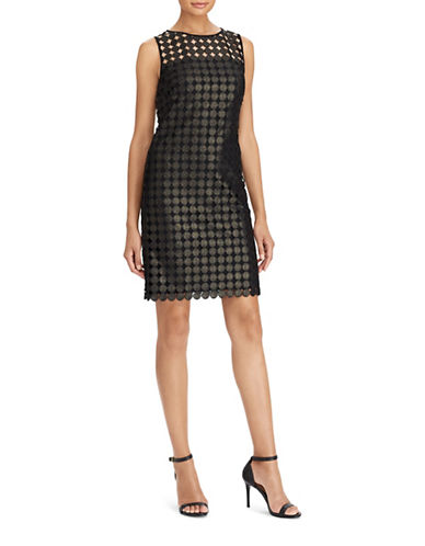 Lauren Ralph Lauren Metallic Geometric Lace Sheath Dress-BLACK/GOLD-12