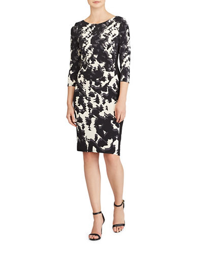 Lauren Ralph Lauren Abstract Print Jersey Sheath Dress-BLACK-4