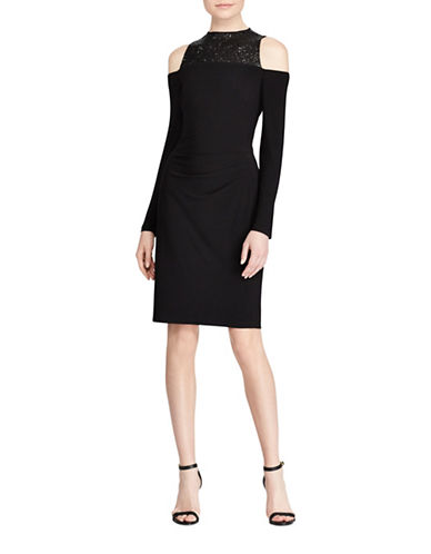 Lauren Ralph Lauren Sequined-Trim Jersey Cold Shoulder Dress-BLACK-16