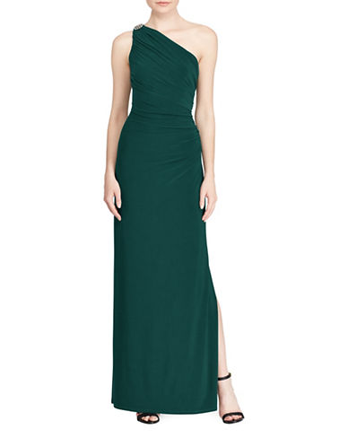 Lauren Ralph Lauren One-Shoulder Column Gown-GREEN-4