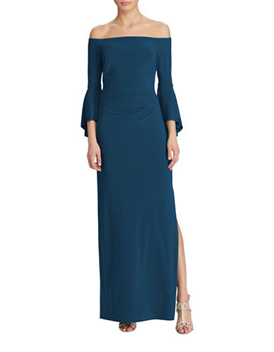 Lauren Ralph Lauren Off-the-Shoulder Bell Sleeve Gown-BLUE-8