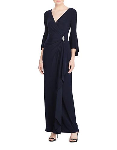 Lauren Ralph Lauren Jersey Bell Sleeve Gown-BLUE-16