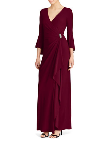 Lauren Ralph Lauren Bell-Sleeve Wrap Gown-RED-2