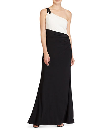 Lauren Ralph Lauren Two-Tone One-Shoulder Gown-BLACK/WHITE-12