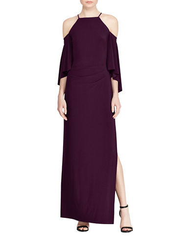 Lauren Ralph Lauren Cutout-Shoulder Jersey Cold Shoulder Gown-PURPLE-12