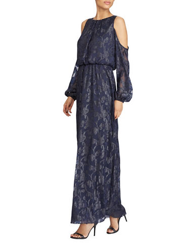 Lauren Ralph Lauren Burnout Cold Shoulder Gown-BLUE-14