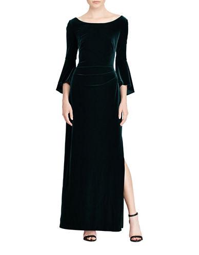 Lauren Ralph Lauren Velvet Bell-Sleeve Gown-GREEN-6