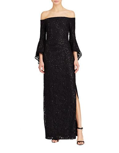 Lauren Ralph Lauren Bell Sleeve Gown-BLACK-8