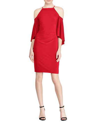 Lauren Ralph Lauren Bell-Sleeve Jersey Sheath Dress-RED-10
