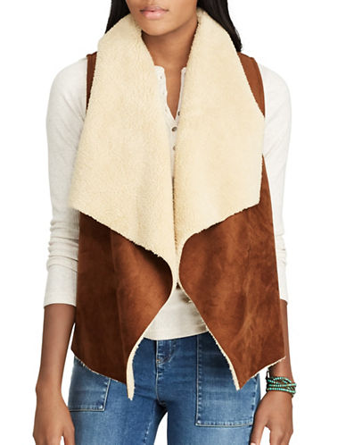 Chaps Faux Shearling and Faux Suede Open-Front Vest-BROWN/CREAM-X-Large