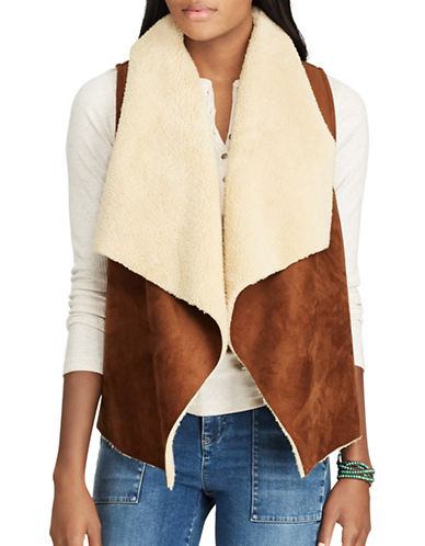 Chaps Petite Holly Vest-BROWN/CREAM-Petite Small