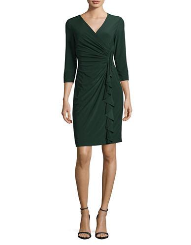 Chaps Jersey Wrap Dress-GREEN-X-Large