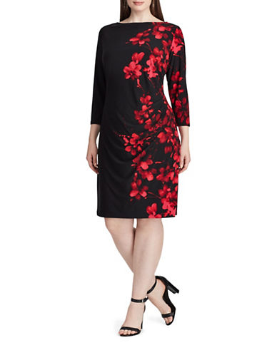Chaps Floral Jersey Dress-BLACK-20W