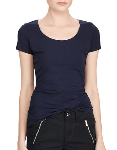 Lauren Ralph Lauren Stretch Jersey Tee-NAVY-Small
