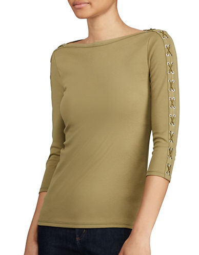 Lauren Ralph Lauren Lace-Up Boat Neck Top-GREEN-Large