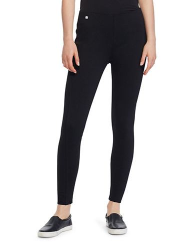 Lauren Ralph Lauren Seamed Ponte Leggings-BLACK-Small