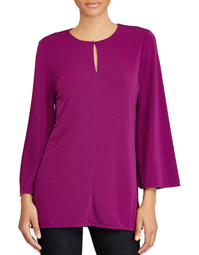 Lauren Ralph Lauren Jersey Bell Sleeve Tunic-PURPLE-X-Large