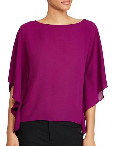 Lauren Ralph Lauren Draped Georgette Top-PURPLE-Small