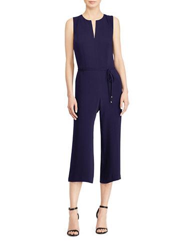 Lauren Ralph Lauren Wide-Leg Crepe Jumpsuit-NAVY-2