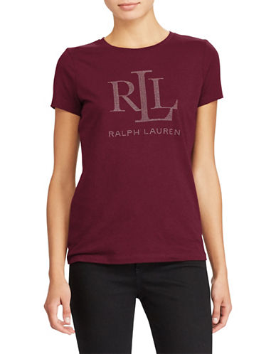 Lauren Ralph Lauren Studded Jersey Tee-RED-X-Small