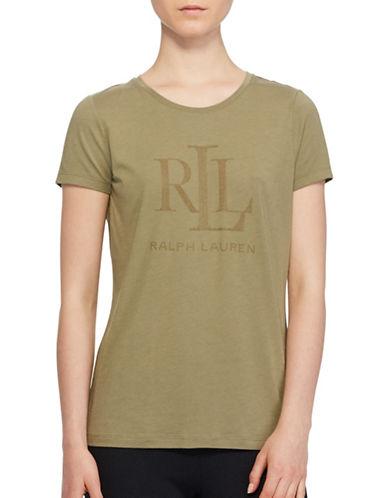 Lauren Ralph Lauren Studded Jersey Tee-GREEN-Medium