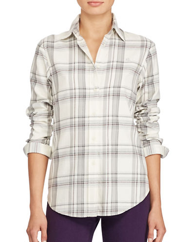 Lauren Ralph Lauren Plaid Cotton Button-Down Shirt-WHITE MULTI-Small