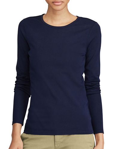 Lauren Ralph Lauren Stretch Blouse-NAVY-X-Large