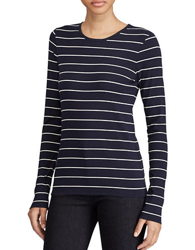 Lauren Ralph Lauren Striped Blouse-BLUE-X-Large