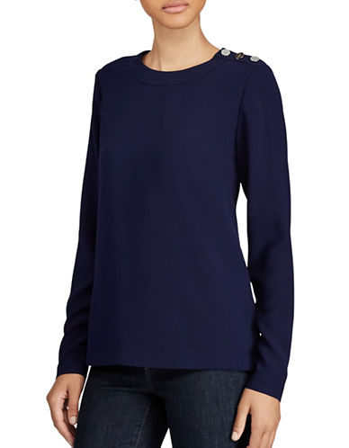 Lauren Ralph Lauren Button-Shoulder Georgette Top-NAVY-X-Large