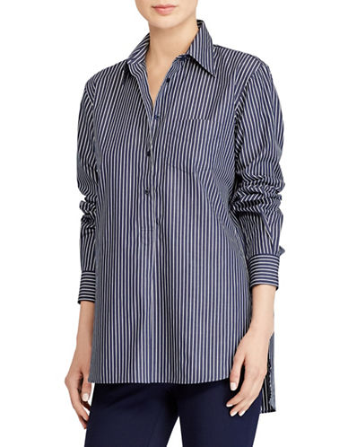 Lauren Ralph Lauren Striped Cotton Tunic-NAVY/WHITE-X-Large