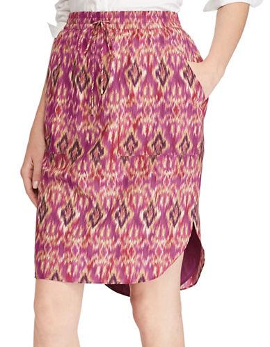 Lauren Ralph Lauren Ikat Print Crepe Hi-Lo Skirt-MULTI-Small