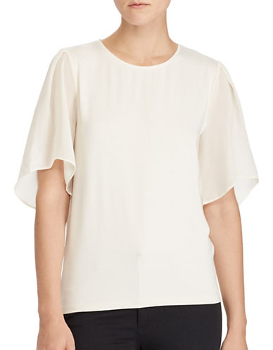 Lauren Ralph Lauren Georgette-Sleeve Jersey Top-NATURAL-Medium