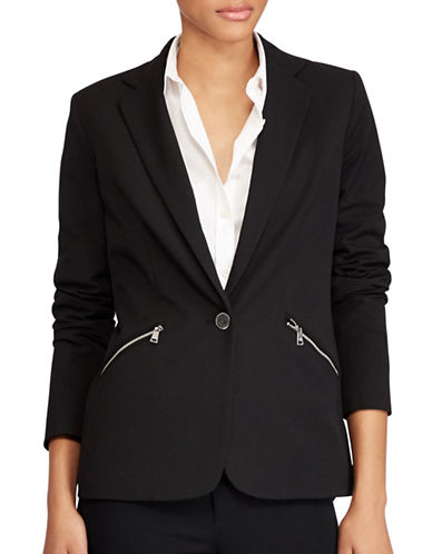 Lauren Ralph Lauren Zip-Pocket Twill Blazer-BLACK-12