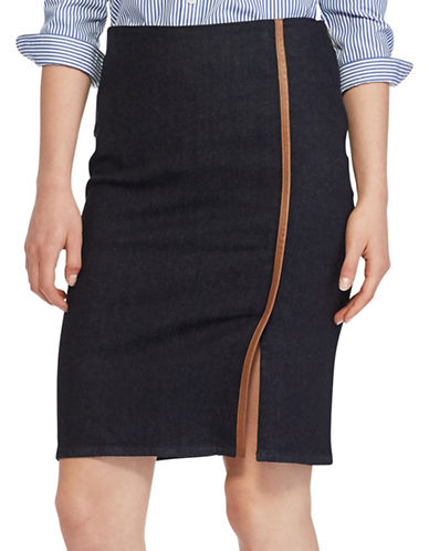 Lauren Ralph Lauren Stretch Denim Pencil Skirt-BLUE-4