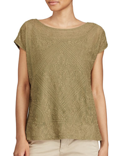 Lauren Ralph Lauren Embroidered Sheer Top-GREEN-X-Large