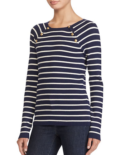 Lauren Ralph Lauren Striped Crew Neck Sweater-BLUE MULTI-Large