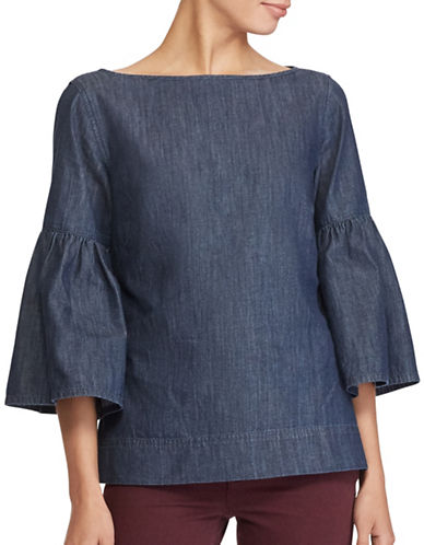 Lauren Ralph Lauren Petite Denim Cotton Bell Sleeve Blouse-BLUE-Petite X-Small