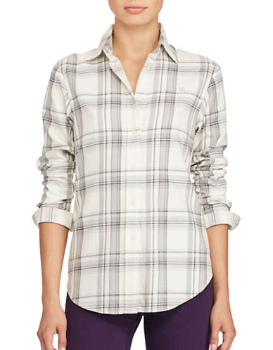 Lauren Ralph Lauren Petite Plaid Cotton Button-Down Shirt-WHITE-Petite Large