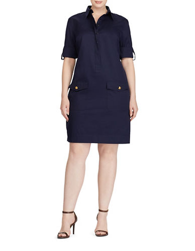 Lauren Ralph Lauren Plus Twill Shirtdress-BLUE-1X
