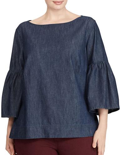 Lauren Ralph Lauren Plus Denim Cotton Bell Sleeve Shirt-BLUE-1X