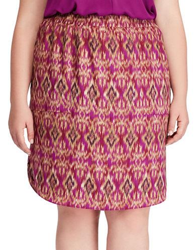 Lauren Ralph Lauren Plus Ikat-Print Crepe Skirt-MULTI-3X