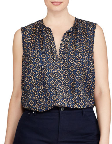 Lauren Ralph Lauren Plus Printed Crepe Tank Top-MULTI-2X