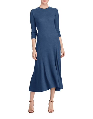 Polo Ralph Lauren Long Sleeve Cotton Fit-and-Flare Dress-BLUE-Large