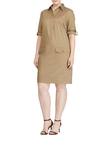 Lauren Ralph Lauren Plus Twill Shirtdress-GREEN-3X