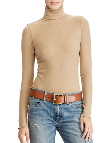 Polo Ralph Lauren Turtleneck Knitted Top-BEIGE-Small