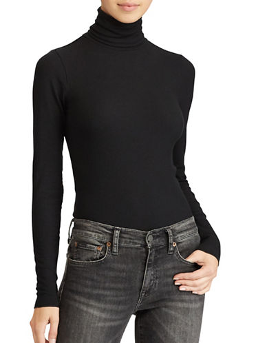 Polo Ralph Lauren Ribbed Turtleneck Knit Shirt-BLACK-X-Large